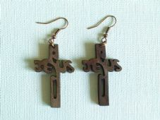 The wooden Jesus cross earrings